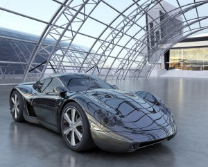 A black sports car in an industrial area. My own sports car design. Very high resolution 3D render.